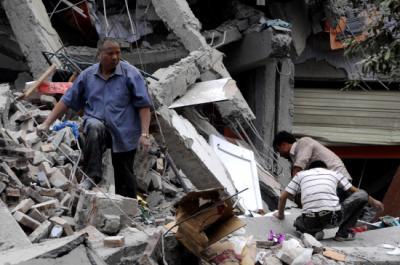 Destrozos del terremoto